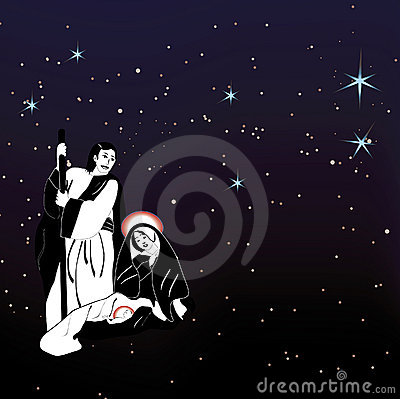 Holy family nativity and stars vector