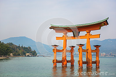Holy gate  Torii  at Miyajima islands  Landmark of Hiroshima