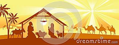 Holy night, way to Bethlehem