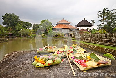 Holy offerings at royal temple of Bali