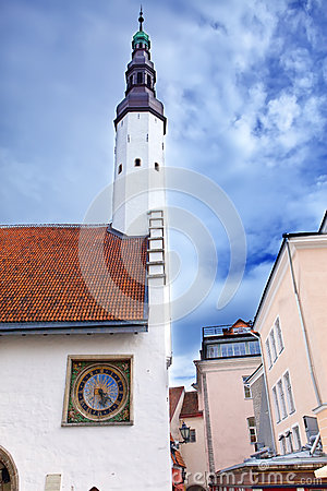 Holy Spirit Church and the old clock.Tallinn,
