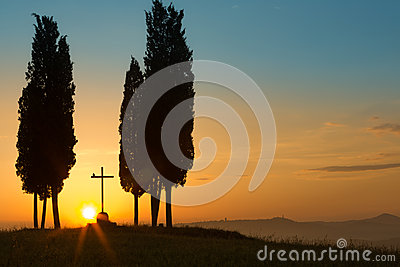 Holy sunrise in Tuscany