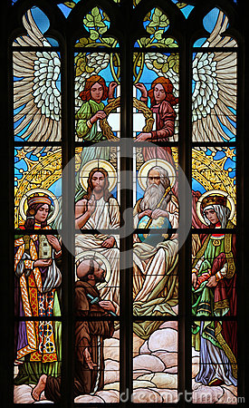 Free Holy Trinity. Art Nouveau Stained Glass Window. Royalty Free Stock Photography - 49415107