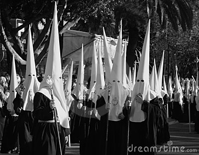 Holy week, Malaga, Spain, black and white