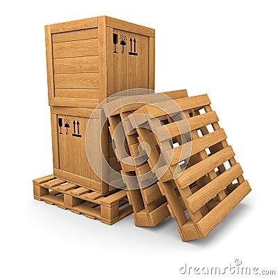 Holzkisten mit Druck auf Palette, Stapel von Paletten