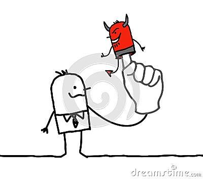 Hombre con el diablo de la marioneta en el finger