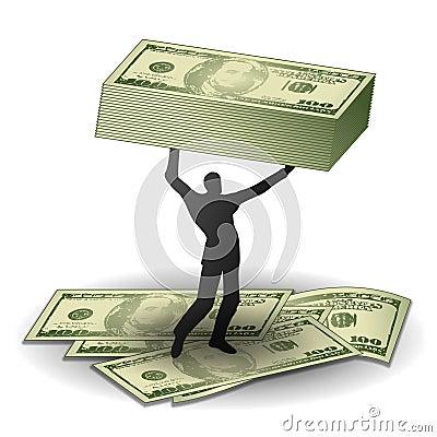 Hombre con la ganancia inesperada del dinero