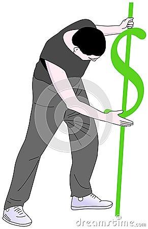 Hombre con una muestra de dólar que la estaca en la tierra