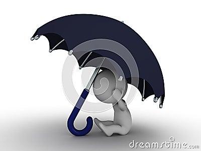 Hombre 3D que oculta debajo del paraguas - concepto de la seguridad