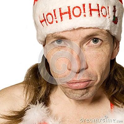 Hombre de la Navidad que pone mala cara