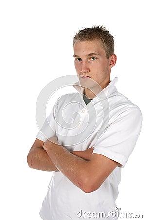 Hombre de mirada atractivo, afilado