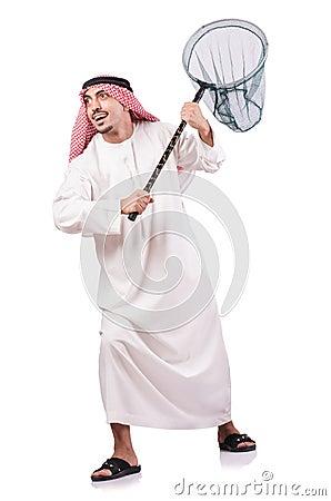 Hombre de negocios árabe con la red de cogida