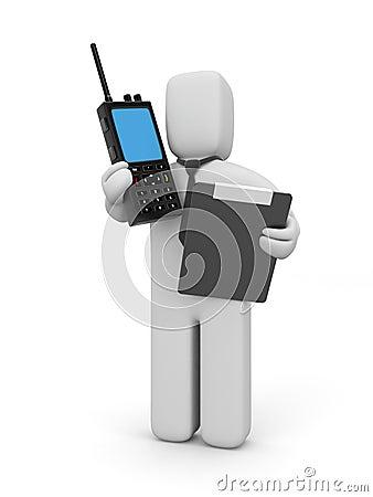 Hombre de negocios con el transmisor de la radio portátil