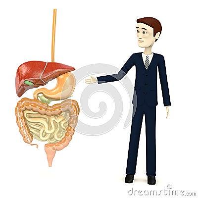 Hombre de negocios de la historieta con el sistema digestivo