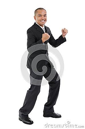 Hombre de negocios emocionado