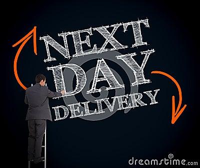 Hombre de negocios en escalera que escribe el día siguiente entrega