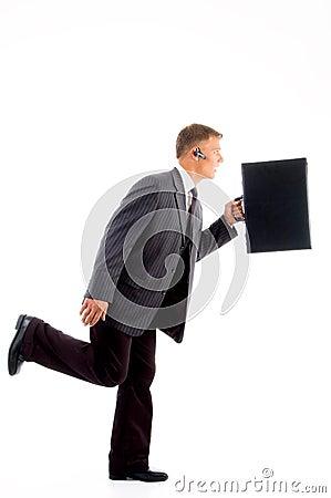 Hombre de negocios en prisa con la cartera