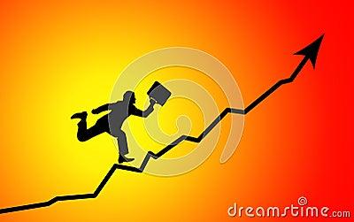 Hombre de negocios que se ejecuta para representar el pico gráficamente