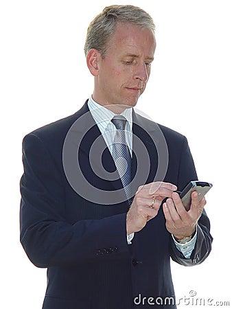 Hombre de negocios serio con PDA