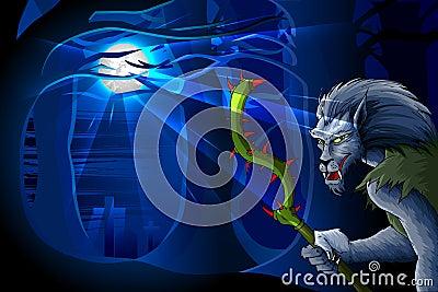 Hombre del lobo en la noche de Víspera de Todos los Santos