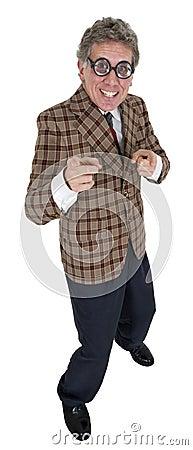 Hombre divertido del vendedor de coche usado, aislado en blanco