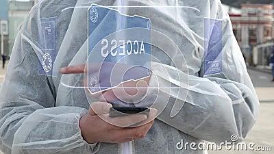 Hombre en blanco usa texto holográfico Acceso ilustración del vector