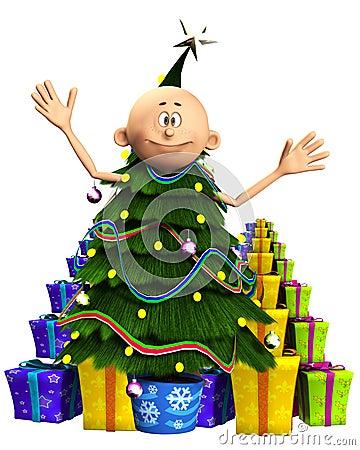 Hombre en árbol de navidad y regalos