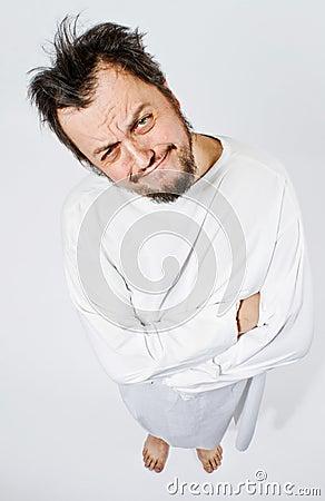Hombre insano en camisa de fuerza