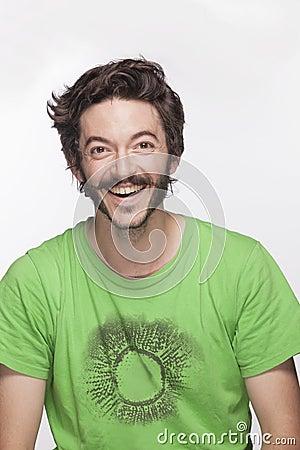 Hombre Joven Sonriente Con La Barba Y Bigote Que Mira La C Mara Tiro