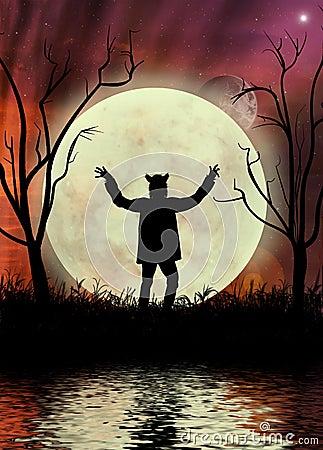 Hombre lobo con el cielo y el moonscape rojos