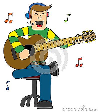 Hombre que canta con la guitarra
