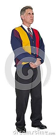Hombre serio, ropa ocasional de asunto, aislada