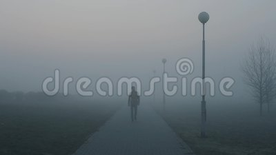 Hombre solo que se va en el camino brumoso por la mañana el individuo es entra en la niebla debajo de las linternas almacen de metraje de vídeo
