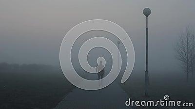 Hombre solo que se va en el camino brumoso por la mañana el individuo es entra en la niebla debajo de las linternas almacen de video