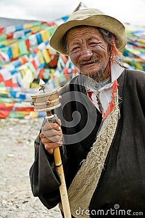 Hombre tibetano Imagen de archivo editorial