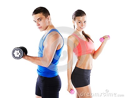 Hombre y mujer atléticos