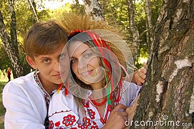 Hombre y mujer ucranianos