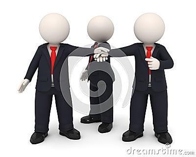 Hombres de negocios de las manos 3d juntas unidas como personas