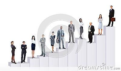 Hombres de negocios del equipo y diagrama
