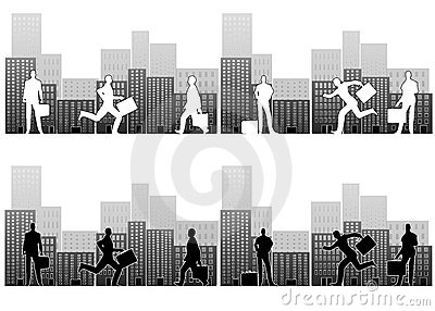 Hombres de negocios ocupados en ciudad