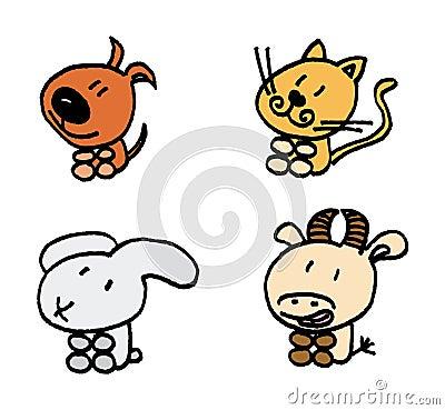 home animals vector set