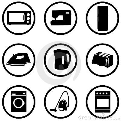 Home appliance icons set