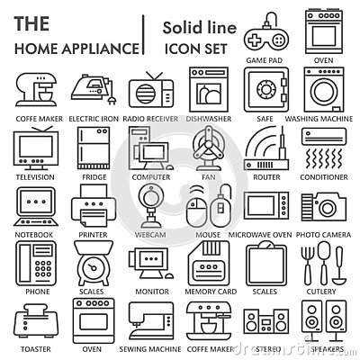 Free Home Appliance Line SIGNED Icon Set, Household Symbols Collection, Vector Sketches, Logo Illustrations, Electrical Royalty Free Stock Image - 133617416