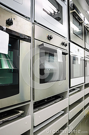 Home appliance store, row of ovens