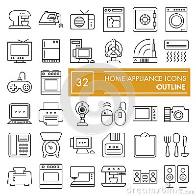 Free Home Appliance Thin Line Icon Set, Household Symbols Collection, Vector Sketches, Logo Illustrations, Electrical Stock Image - 124474621