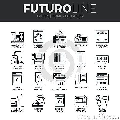 Free Home Appliances Futuro Line Icons Set Royalty Free Stock Image - 62806686