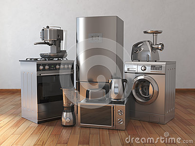 Home appliances. Household kitchen technics in the empty room Cartoon Illustration