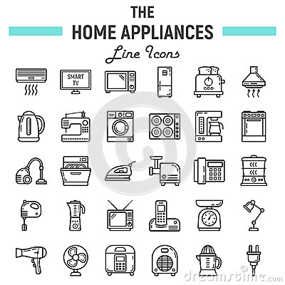 Free Home Appliances Line Icon Set, Technology Symbols Stock Photos - 96340273