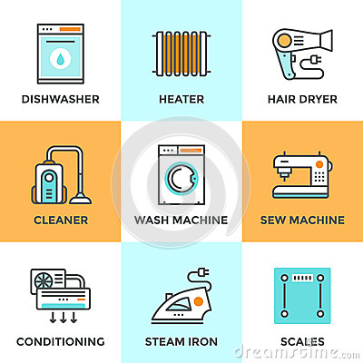 Free Home Appliances Line Icons Set Royalty Free Stock Photos - 52687238