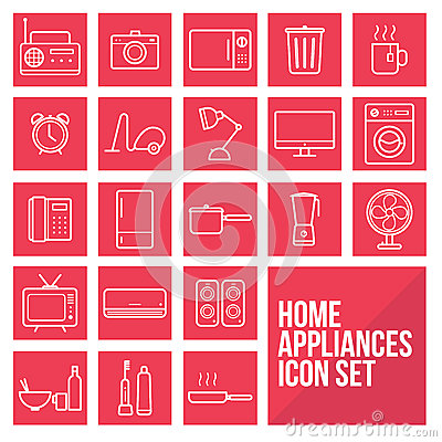 Free Home Appliances Simple Thin Line Icons Set Vector Royalty Free Stock Photo - 63598055